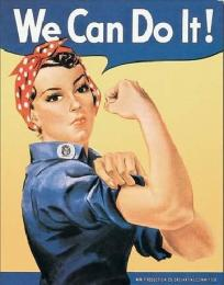 Retro cedule Plechová cedule ROSIE THE RIVETOR - we can do it